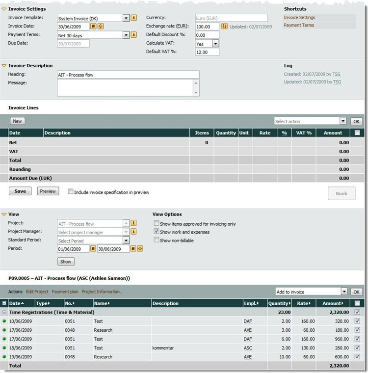 Adding Lines to an Invoice Draft – Invoice Draft