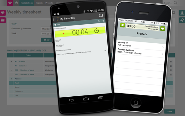 Time tracking via iPhone and Android