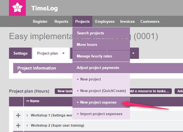 Register project expenses under Projects