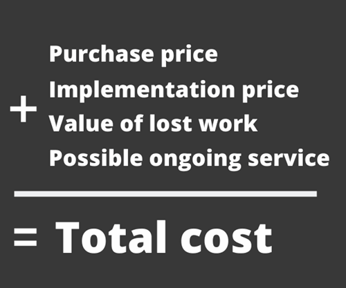 How do you calculate the cost of buying software?