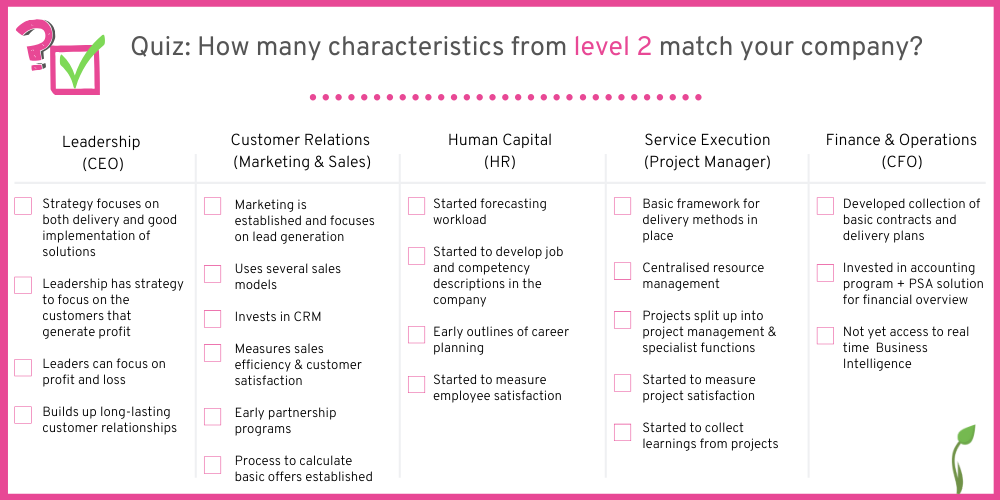 How many characteristics from companies on level 2 can you spot in your company?