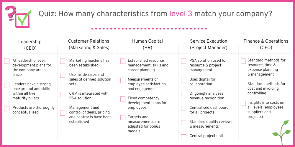 How many characteristics from companies on level 3 can you spot in your company?