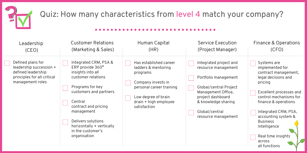 How many characteristics from companies on level 4 can you spot in your company?